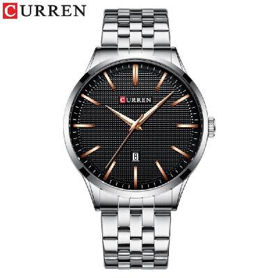 Curren Men Watch Fashion Business Calendar Luminous Hands Waterproof Watch Classic Exquisite Alloy Case Stainless Steel Band Wrist