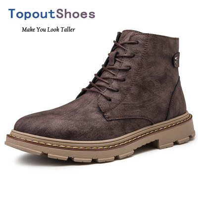 TopoutShoes Height Increasing Men Ankle Boots Leather Elevator Martin Boot Look Taller 34inch 85cm