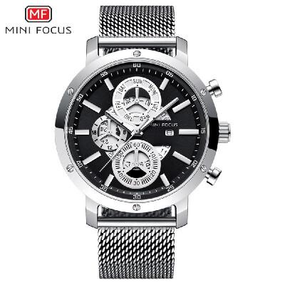 MINI FOCUS MF0190G Man Quartz Watch Waterproof Outdoor Noctilucent Multi Dials Stainless Steel Band Male Wristwatch