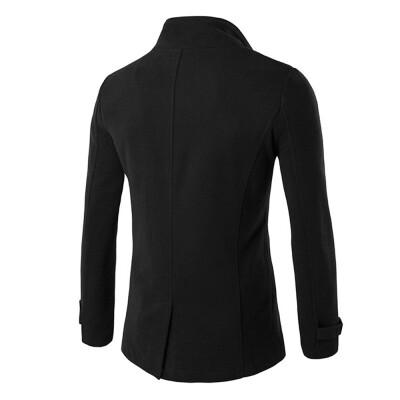 Roseonmyhand Men Autumn Winter Double Row Button Collar Woolen Coat Sweater Top Blouse