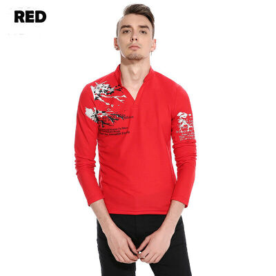 New Style Fashion Hot Print Mens Slim Fit Long Sleeve Tee Shirts Casual V Neck T-shirt Tops
