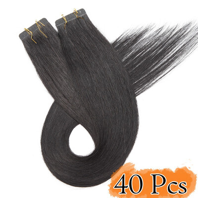 Tape in Human Hair Extensions Highlight Balayage Long Straight Seamless Skin Weft Glue in Hairpieces Invisible Double Sided Tape