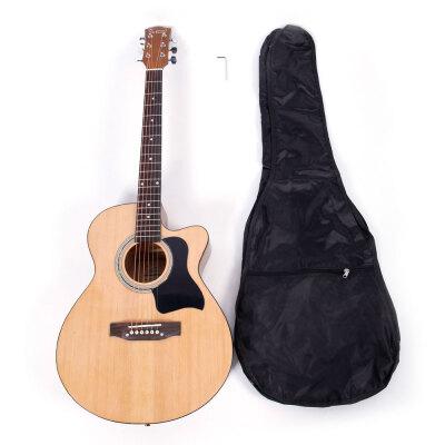 Glarry 39 inch Spruce Front Cutaway Folk Guitar with Bag