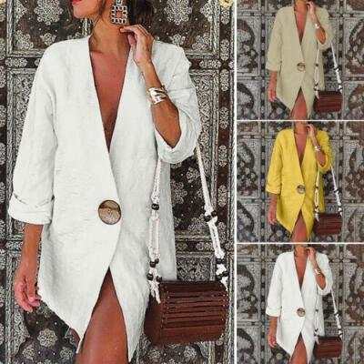 2019 Women´s Casual Cotton Linen One Button Work Office Blazer Long Sleeve V Neck Open Front Loose Blazers Jacket