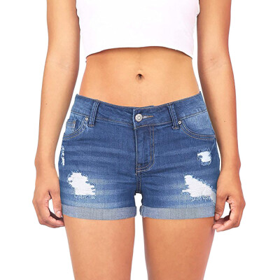 Tailored Women Low Waisted Washed Ripped Hole Short Mini Jeans Denim Pants Shorts