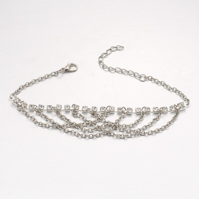 New Fashion Brass Rhinestone Anklets with Iron Chains&Zinc Alloy Lobster Claw Clasps Platinum Crystal 225x4mm