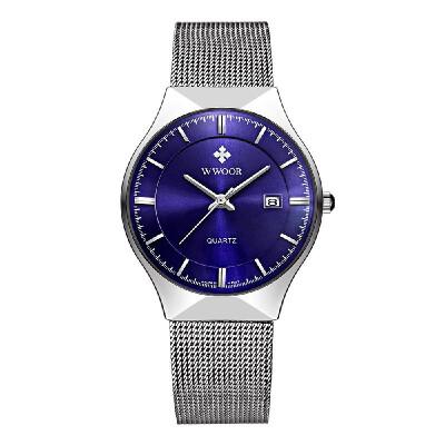 WWOOR Ultra Thin Fashion Luxury Diamond Quartz Ananlog Man Casual Wristwatch Stainless Steel Simplicity Men Decorative Watch Wat