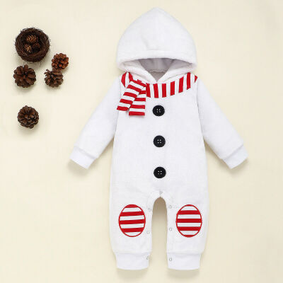 Christmas Kid Baby Boy Girl Winter Clothes Fleece Snowman Romper Bodysuit Outfit
