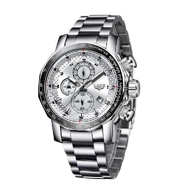 LIGE Men Multifunctional Business Wrist Watches Fashion Sports Waterproof Calendar Analog Quartz Watch
