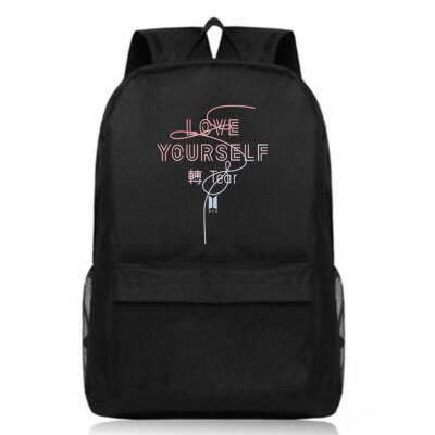 BTS Teenage Backpack Korean Bangtan Letter Print Boy Girl School Backpacks Black Travel Book Bag Laptop Backpack