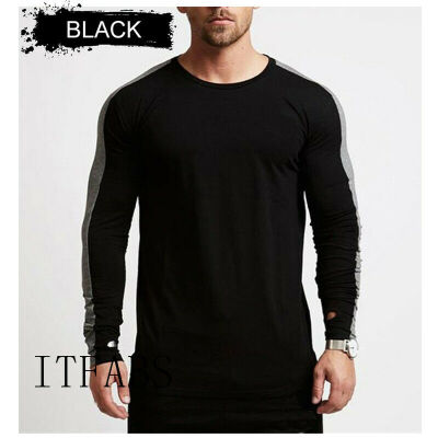New Fashion Mens Slim Fit Striped Long Sleeve Muscle Tee T-shirt Tops Shirts