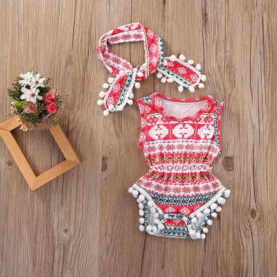 Newborn Infant Baby Girl Tassel Romper Bodysuit Jumpsuit Headband Clothes Outfit