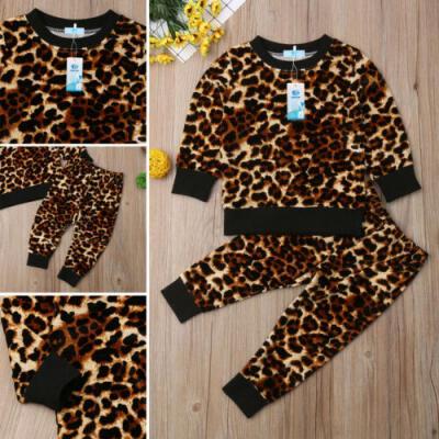 UK Toddler Kids Baby Girl Autumn Outfit Clothes T-shirt TopsLong Pants 2PCS Set