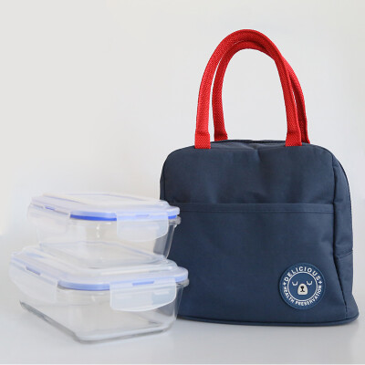 Banzhini lunch bag fresh lunch box bag rice bag multi-function portable with aluminum film layer cold insulation package heat-resistant glass lunch box microwave lunch box square 2 piece set navy