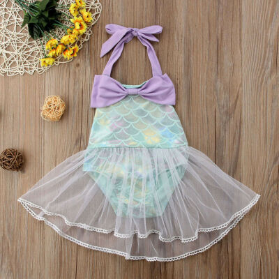 USA Newborn Baby Kid Girl Mermaid Romper Dress Bodysuit Jumpsuit Outfits Clothes