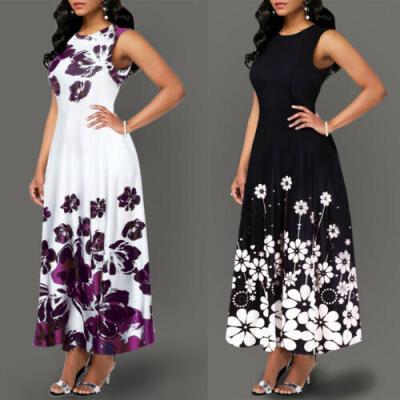 Summer Women Vintage A-Line Dress Tunic Long Sleeveless Floral Print Sundress