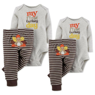 Newborn Infant Baby Boy Girls Thanksgiving Clothes Romper Tops Pants Outfit Set