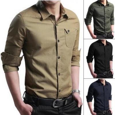 New Mens Long Sleeve Shirt Button Up Business Work Formal Plain Dress Top