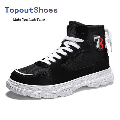 TopoutShoes Elevator Men High Top Plimsolls Shoes Hidden Lift Canvas Skateboarding Shoes Taller 34cm 85cm