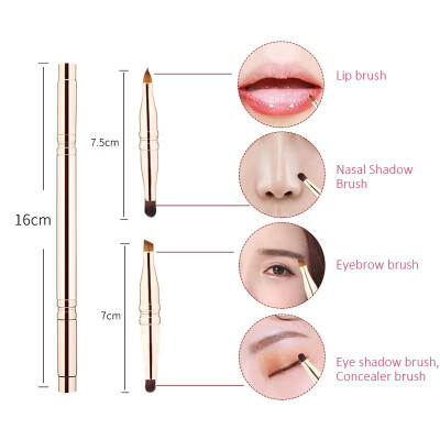 Makeup Brush Four-head Retractable Adjustable Eyebrow Eyeshadow Lips Concealer Brush Portable Makeup Brush With Lid