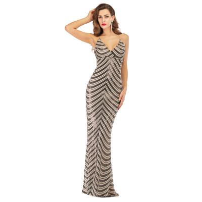 〖Follure〗Women Deep V Fashion Sexy Tassel Solid Sleeveless Shining Sequin Dress