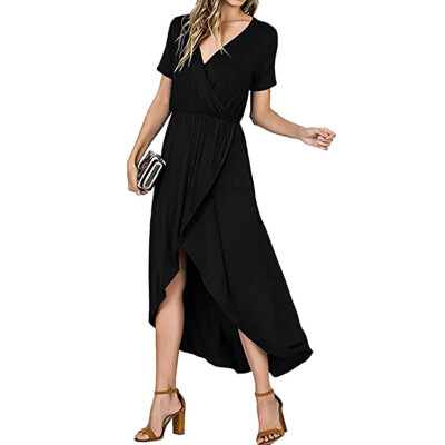 Women Sexy Solid Dress V Neck Short Sleeve Dresses Fashion Casual Loose Irregular Midi Dress