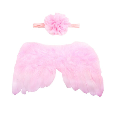 Newborn Baby Hairband Set Cute Feather Angel Wings With Big Flower Hairband Photography Props Set Solid Color