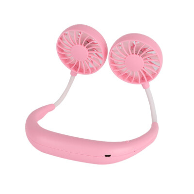 Wearable Portable Hand Free Neckband Fan USB Rechargeable Personal Mini Double Fans 3 Speed Adjustable Outdoor Accessories