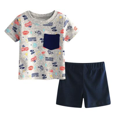 Summer Children Boy Cartoon Printed O Neck Short Sleeved Shirt Shorts Two Pieces Set Kids Clothing Set