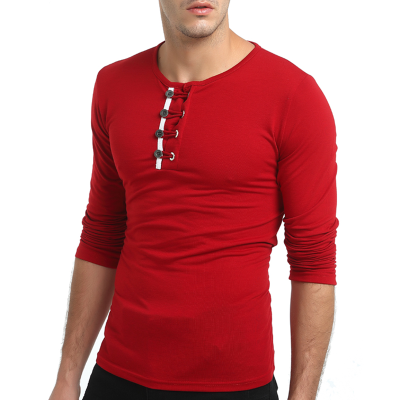 2018 New Mens Fashion Long Sleeved Shirts Cotton Slim Fit Solid Color Round Neck Casual T-shirts Tops