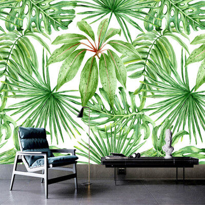 Custom Photo Mural Hand Painted Green Leaf Plant Wall Painting Wallpaper For Living Room Bedroom Mural Wall Papers Home Decor