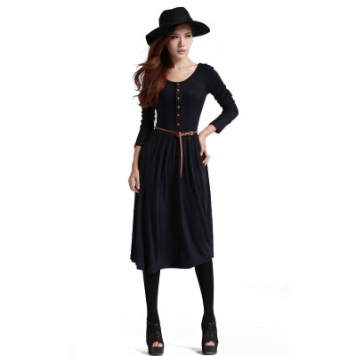 Lovaru ™2015 new autumn and winter ladies vintage knitted dress plus size dresses spring women's dress without belt