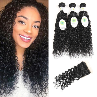 7A Brazillian Water Wave With Closure Brazilian Virgin Hair Lace Closure With Bundles Wet&Wavy Human Hair Weaves