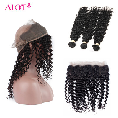 Alot 7A 360 Frontal With Bundles Deep Wave 3 Bundles Weave With 360 Frontal Brazilian Virgin Human Hair
