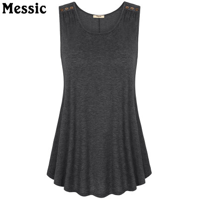 Timeson Summer 2018 Sleeveless Solid Tee V-Neck Women Tanks Wool Button Big Hem Long Loose Tunic Casual Vest Female Knitted Tops