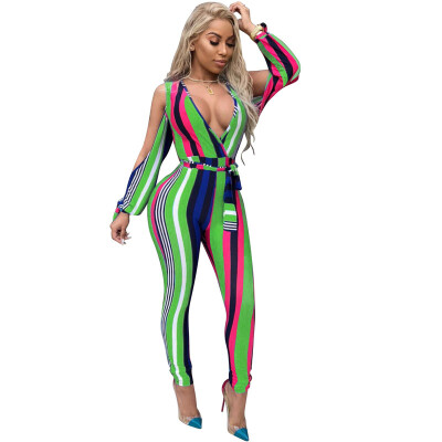 2018 New Arrival Jumpsuit Women Summer Fashion Sexy V-neck Hollow Playsuits Elegant Lace-up Bodycon Bodysuit Mid-waist One Piece
