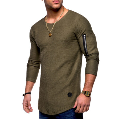New Fashion Men Long Sleeved T-shirt Slim Fit Male Sports Tshirt Solid Color Round Neck Tee Shirts Mens Top Clothing