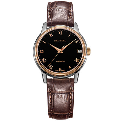 Seagull (SeaGull) watch simple business series single automatic mechanical couple table female table black plate brown belt 217.614L