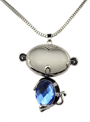 Idealway Fashion Silver Long Snake Chain Opal Royalblue Crystal Rhinestone Monkey Pendant Necklace