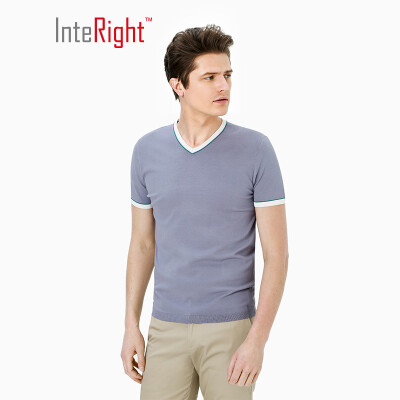 INTERIGHT V-neck special yarn dry net color business mens T-shirt gray