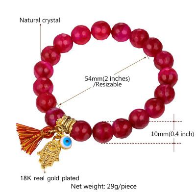 U7 Luxury Crystal Bead Bracelets For Women Jewelry 2016 New Trendy Black / Red Stone Hamsa Hand Evil Eye Bracelet Bangle