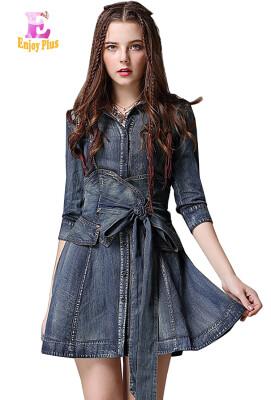 M L chest 84-92cm vintage cotton new summer 2018 mini jeans dress women half sleeve denim blue slim A line with belt V neck