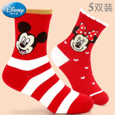 Disney childrens socks cotton baby socks 3-5 spring&autumn thin boys&girls cotton socks 7-9 years old luck socks D00309M 14-16cm