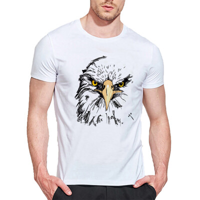 Mens O Round Neck Casual Short Sleeves Fashion Cotton T-Shirts Owls Head Picture Digital Print