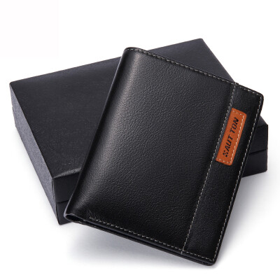 Haotton (HAUT TON) QB28 wallet men's short section of the amount of money package bag hand bag head layer of leather business casual wallet card sets of driving license sets of men's wallet black