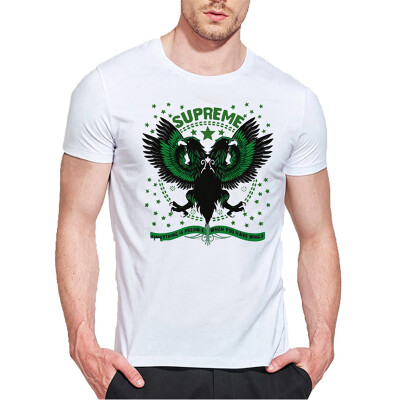 Mens O Round Neck Casual Short Sleeves Fashion Cotton T-Shirts Eagle Picture & Super Me Letter Digital Print