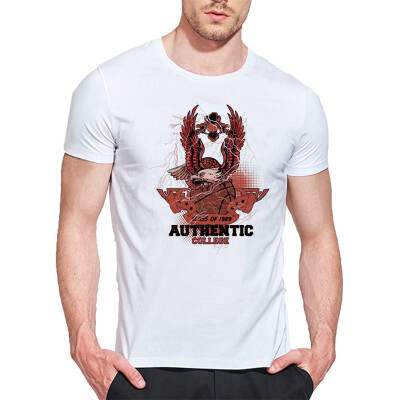 Mens O Round Neck Casual Short Sleeves Fashion Cotton T-Shirts Flying Eagle Standing Picture 3D Digital Print