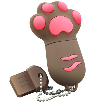 Right (Transshow) cartoon series / colorful cat paw 8GB creative gift U disk brown