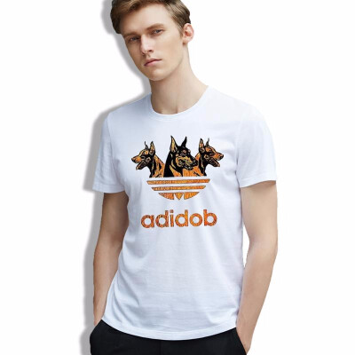 cotton men T-shirt Adidob Cool Drawing Print Dogs tees geek Funny Animals White Casual Tshirt