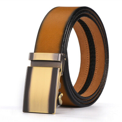 XHTang Fashion Men/'s Automatic Buckle Belt Leather Ratchet Waistband Jeans Gift